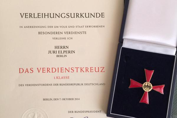 2014: Juri wird das Bundesverdienstkreuz 1. Klasse vom deutschen Bundespräsidenten verliehen